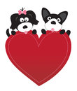 Valentine puppies vector illustration of dogs holding heart Royalty Free Stock Photos