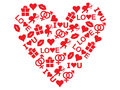 Valentine red heart made of valentines day icons Royalty Free Stock Image