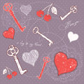 Valentine romantic love card with key to heart Royalty Free Stock Photography