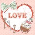 Valentine romantic retro card