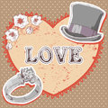 Valentine romantic retro card Royalty Free Stock Photography