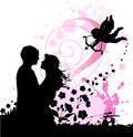 Valentine's background with cupid and couple in lo Royalty Free Stock Photo