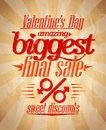 Valentine s biggest sale typographic design day eps Royalty Free Stock Image