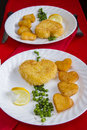Valentine s breakfast with heart shape potatoes and cheese nugget Stock Image