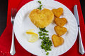 Valentine s breakfast with heart shape potatoes and cheese nugget Royalty Free Stock Photo