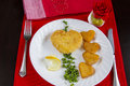 Valentine s breakfast with heart shape potatoes and cheese nugget Royalty Free Stock Image