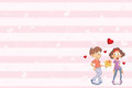 Valentine`s card with a Cute Guy and Girl in Love. Illustration