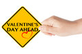 Valentine's Day Ahead Sign Royalty Free Stock Photo