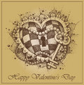 Valentine s day сard heart with key drawn by hand Royalty Free Stock Photo