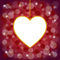 Valentine s day background for with an hanging diamond heart on a red bokeh Royalty Free Stock Photos