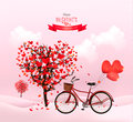 Valentine's Day background with a heart shaped tree Royalty Free Stock Photo
