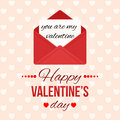 Valentine`s day background with hearts. Love message. Red open envelope with letter. Romantic mail Holiday greeting card
