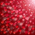 Valentine s day background with hearts and stars red Stock Photos