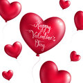 Valentine`s day background with red balloons