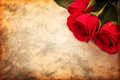 Valentine s day background red roses on paper for romantic message Royalty Free Stock Photos