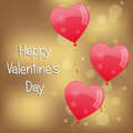 Valentine s day background for with three red heart shaped balloons on a golden Stock Images
