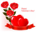 Valentine`s day background. Three red roses with t
