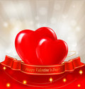 Valentine`s day background. Two red hearts Stock Photos