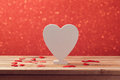Valentine's day background with wooden white heart shape for text Royalty Free Stock Photo