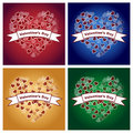 Valentine s day backgrounds set of four for with bokeh hearts and banner Stock Images