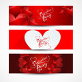 Valentine's day banners or headers set colorful  Royalty Free Stock Photography