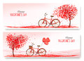 Valentine's Day banners with a heart shaped tree and a bicycle. Royalty Free Stock Photo