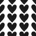 Valentine s day block print seamless pattern with grunge textured black hearts on white background rows of Stock Photography