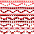 Valentine s day borders set of simple seamless can be used as an independent seamless pattern vector illustration eps Stock Images