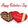 Valentine s day box of chocolate candy white background Stock Photography