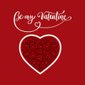 Valentine s Day, brush pen lettering with heart, vector illustration.