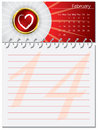 Valentine's day calendar design Royalty Free Stock Photos