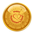 Valentine s day on calendar gold button with vector Royalty Free Stock Photography