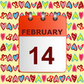 Valentine`s day, calendar icon on pattern with colorful hearts.