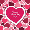 Valentine s day card big purple heart in pink hearts pattern background colorful design illustration in freely scalable editable Stock Photo