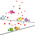Valentine's Day card with cartoon birds and hearts Royalty Free Stock Photo