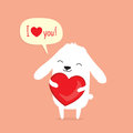 Valentine`s Day card with cute cartoon bunny rabbit holding heart