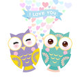 Valentine`s Day Card design with Kawaii owl with pink cheeks and winking eyes, pastel colors on white background. Vector Royalty Free Stock Photo