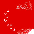Valentine s day card red with hearts and butterflies Stock Images