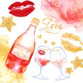 Valentine`s day card with rose wine and wine glasses. Festive romantic background Royalty Free Stock Photo