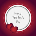 Valentine s day card round or frame with two red heart on a red background Royalty Free Stock Photo