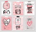 Valentine`s Day card set - hand drawn style with calligraphy.