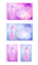 Valentine s day cards with hearts cartoon images of love a collection of images gift for loved one Royalty Free Stock Images