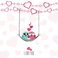 Valentine s day celebration greeting card with couple of owls cute in love swinging by a hearts decorated rope i love you text for Stock Images