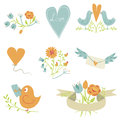 Valentine`s Day collection. Birds, hearts,flowers and other elements. Hand drawn. Simple and cute Royalty Free Stock Photo