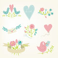Valentine s day collection vector birds hearts flowers and other elements Stock Images