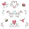 Valentine`s Day collection. Vector birds, hearts,flowers and other elements. Hand drawn. Simple and cute Royalty Free Stock Photo