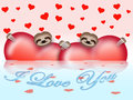 Valentine s day composition with sloths hearts and Royalty Free Stock Photography