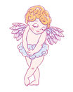 Valentine`s day. Confused Cupid-boy cloud pants. Vector illustration