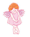 Valentine`s day. Confused Cupid-girl in dress. Vector illustration