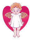 Valentine`s day. Confused Cupid-girl with gold wings and heart shape. Vector illustration